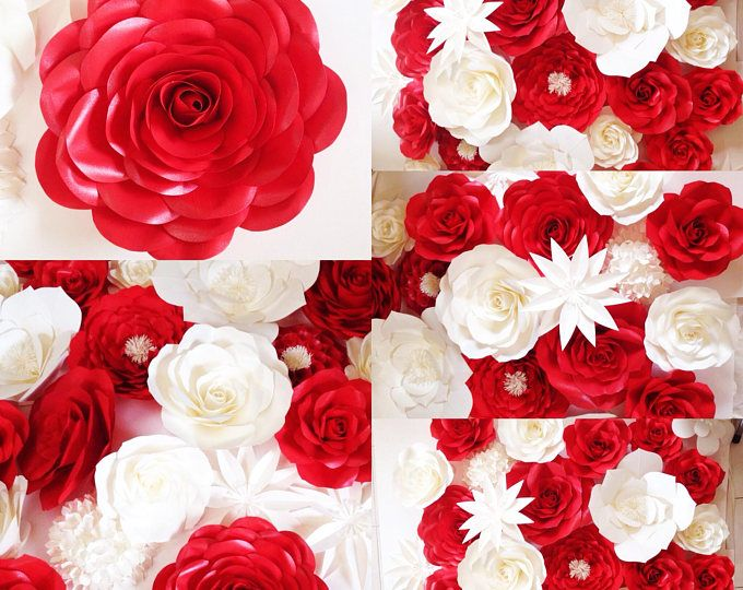 Red And White Paper Flower Backdrop Paper Flowers Paper Flowers