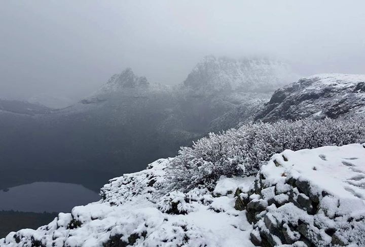 Cradle Mountain covered in snow and cloud. This show was taken by Steve Dowling from Marion's lookout. https://instagram.com/p/BHbrp7_B1_O/