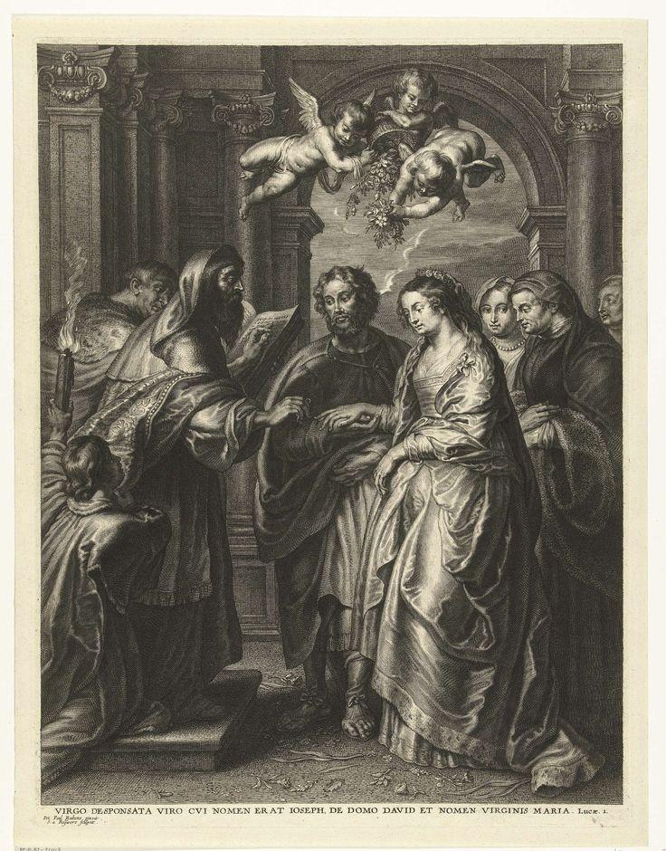 Schelte Adamsz. Bolswert   Huwelijk van Maria en Jozef, Schelte Adamsz. Bolswert, 1596 - 1659   Het huwelijk van Maria en Jozef wordt gesloten door de hogepriester. Onder de voorstelling staat een Latijns citaat uit de bijbel, Lucas 1.