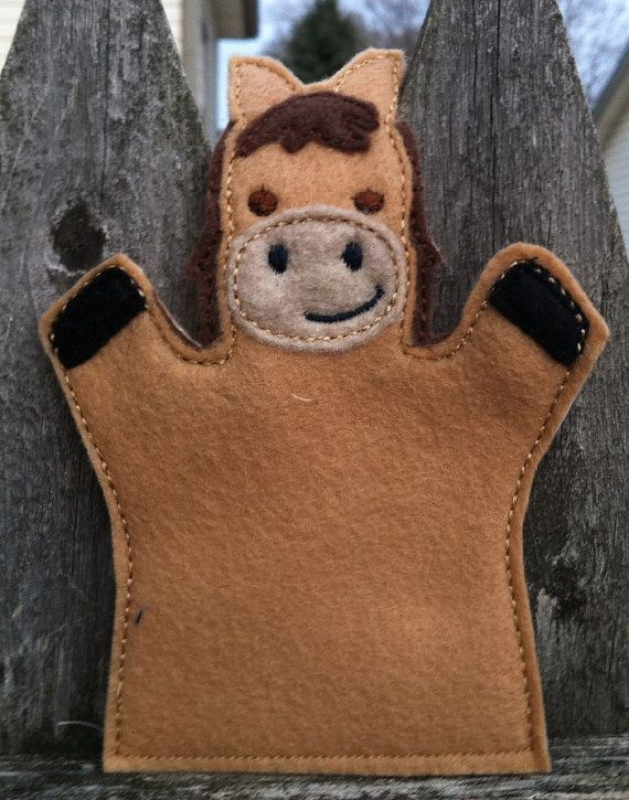 Some residents with dementia like puppets! Horse  Farm Animal Felt Hand Puppet  KiD SiZe by ThatsSewPersonal, $7.50