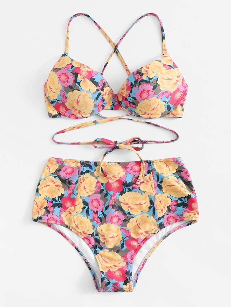 Zufällige Floral Criss Cross Top mit hoher Taille Bikini Set