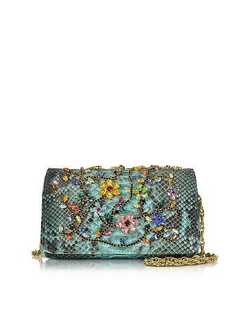 Ghibli Turquoise Python Mini Crossbody Bag w/Multicolor Crystals