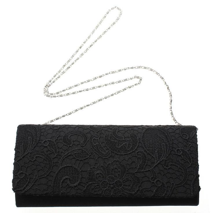 NEW Women Floral Lace Wedding Bridal Satin Evening Party Bag Clutch Shoulder Jacquard Handbag Black