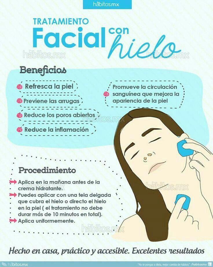Cuida tu piel . Facial con hielo. Refresca tu rostro