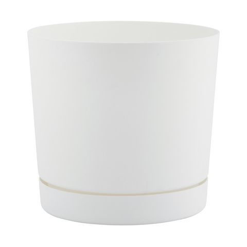 Plastic Pot with Base White | Kmart