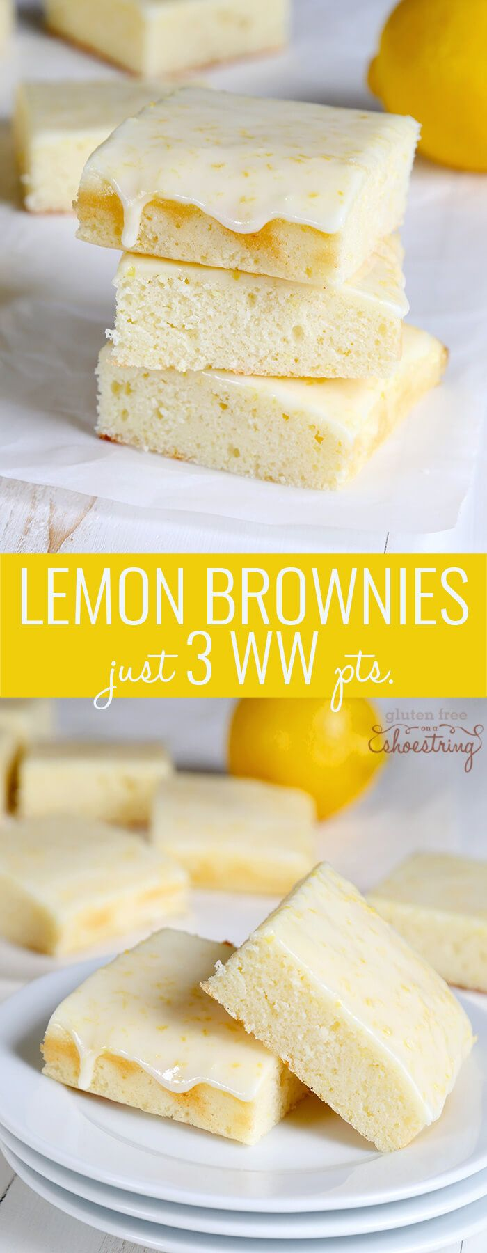 These super light gluten free lemon brownies are made in the Weight Watchers style and have just 3 PointsPlus per generous brownie. Tart and sweet! http://glutenfreeonashoestring.com/weight-watchers-style-gluten-free-lemon-brownies/