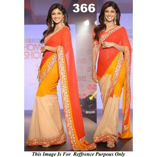 Shilpa setty in Orange saree