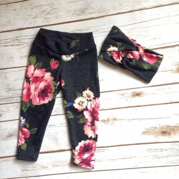Floral Leggings Baby girls Leggings set by TheHippieMermaidco