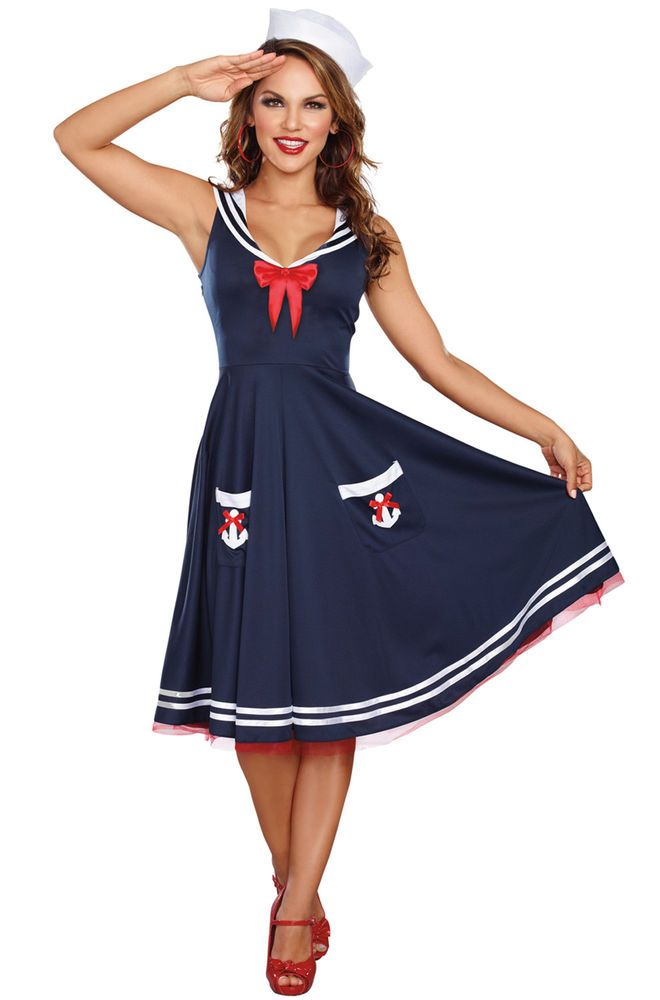 2eb1dd037650b Details about Brand New Retro Pinup Sailor Women All Aboard Plus ...