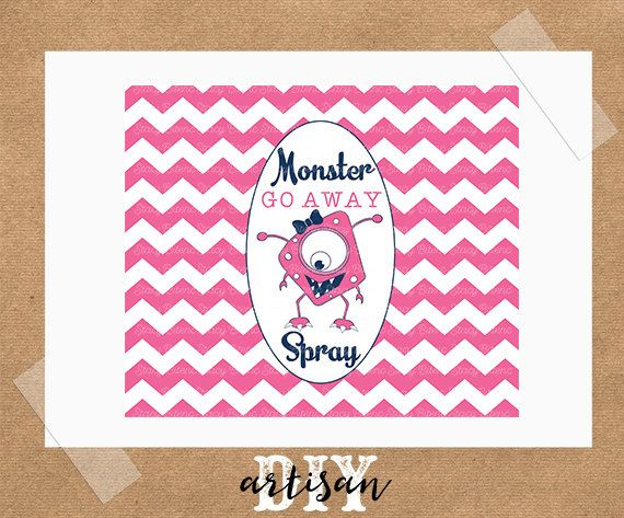 GO away Monster Spray Printable Label Instant by DIYartisan