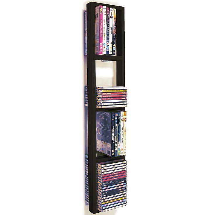 Iris - vägg monterad 76 Cd / 32 Dvd / Blu Ray Förvaringshylla - svart/brun | Fruugo