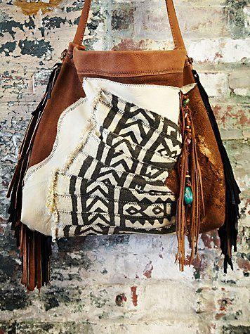 Vintage Mali African Suede Bag