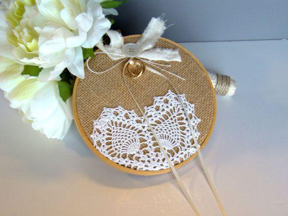 DIY - Embroidery hoop, hessian & doily - Burlap Ring Bearer Pillow, Wedding Hoop Art, Ring Pillow, Ring Bearer Alternative, Rustic, Pew Decoration, Chair  Decor, Vintage Inspired