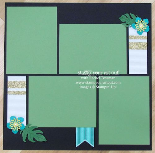 Click here to see 12x12 scrapbook pages made with Botanical Blooms stamp set, Botanical Builder framelits, Glitter Tape and that fun Corrugated Paper… #stampyourartout #stampinup -  Stampin' Up!® - Stamp Your Art Out! www.stampyourartout.com                                                                                                                                                                                 More
