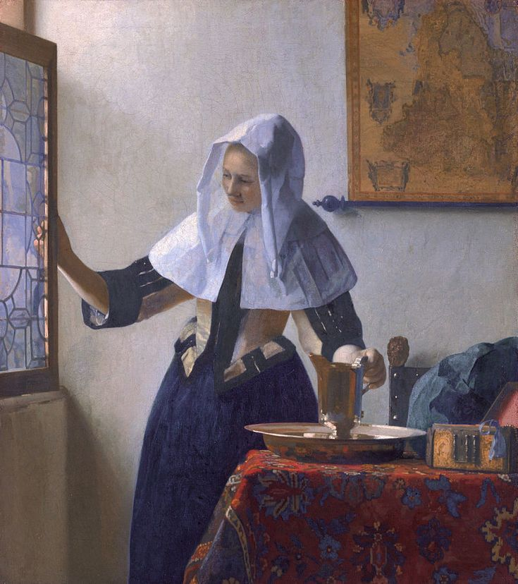 Vrouw met waterkan - by Johannes Vermeer, 1662-1665. In Metropolitan Museum of Art, New York.