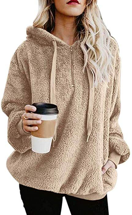 90cdaf0989d MUMUBREAL Women s Oversized Sherpa Long Sleeve Pullover Zip Sweatshirt  Fleece Hoodies Pockets at Amazon Women s Clothing store