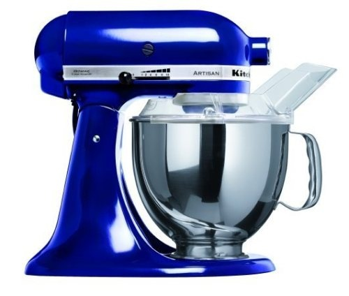 Kitchen appliance - This cobalt blue and chrome feature is vibrant in colour against the polished white kitchen bench top