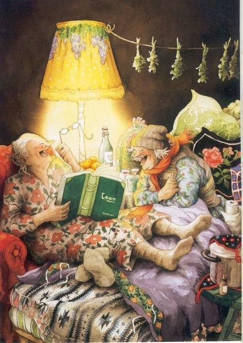 Inge Löök:in Mummot ilahduttavat minua jumalattomasti, muodossa jos missä. Eli postikortit, kalenterit... :)