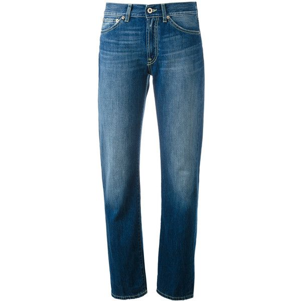 Dondup folded hem tapered jeans ($118) ❤ liked on Polyvore featuring jeans, blue, tapered jeans, tapered fit jeans, tapered cut jeans, blue jeans and folded jeans