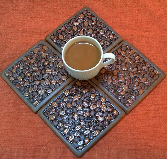 Coffee Lovers Coaster Set of 4/ coffee bean by FayJonesDayTile