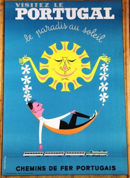 Portugal, le paradis au soleil - chemins de fer portugais - 1958 - (Arnaldo Figuereido) -