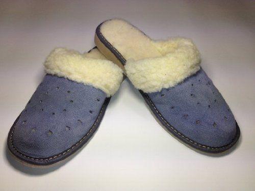 Damen Pantoffeln Hausschuhe Handarbeit echt Leder, Lammfell, blau A215 - http://on-line-kaufen.de/rms/damen-pantoffeln-hausschuhe-handarbeit-echt