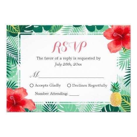 Tropical Pineapple Hibiscus Leaves RSVP Response Card #summer #wedding #greetings