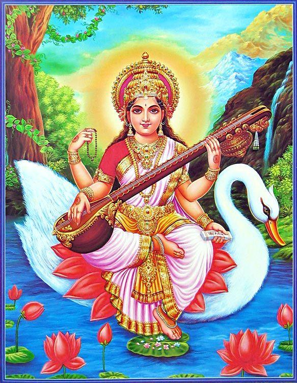 saraswati-sitting-on-her-vahana-swan.   goddess-of-music-and-knowledge-