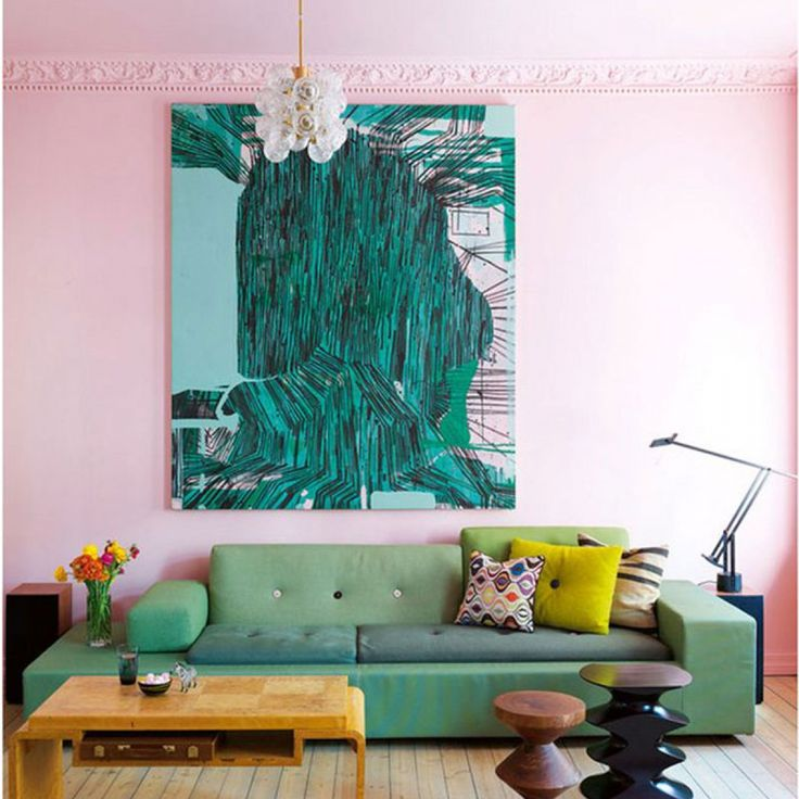 Pale Pink Walls And Shots Of Emerald Green Artwrk And Green Sofa Make This Living  Room Part 93