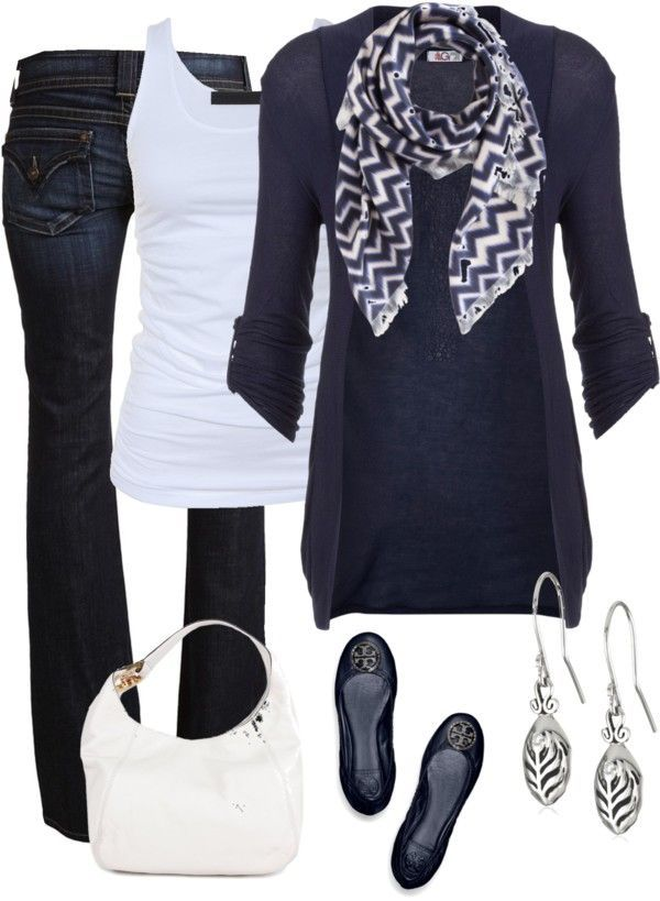 Dark wash trouser jeans, navy long cardigan, white tank, navy/white patterned scarf, and some cute ballet flats.