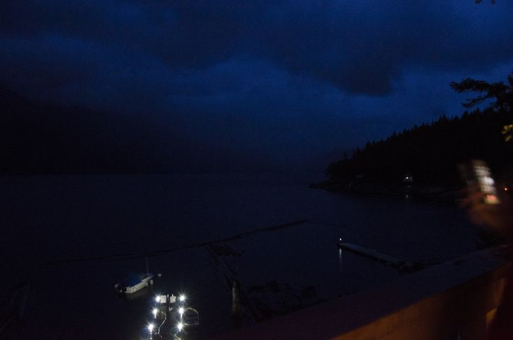 Storm is coming, northwest view to Chippewa Bay on Powell Lake, British Columbia