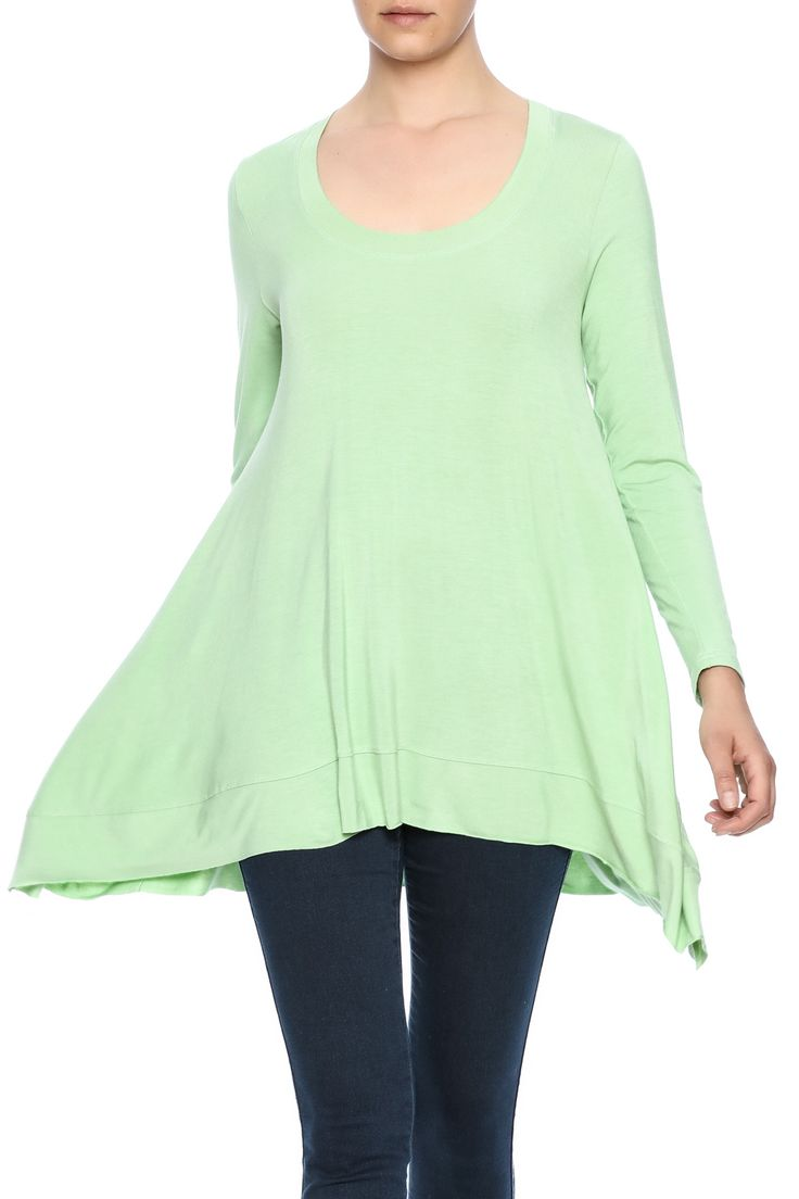 Tunic top with long sleeves, asymmetric sides and a scoop neckline.    Light Green Tunic Top by Miss Finch. Clothing - Tops - Long Sleeve Clothing - Tops - Tunics Connecticut