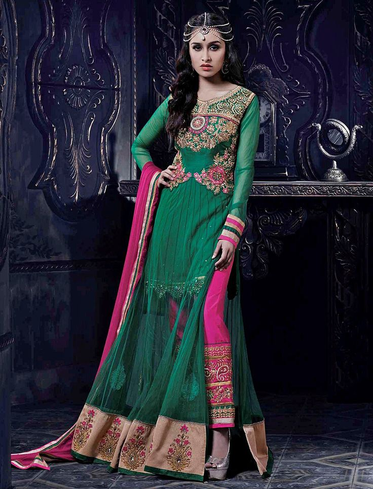 Bollywood Sharddha Kapoor-Loveliness Green Long Length Wedding Salwar Suit