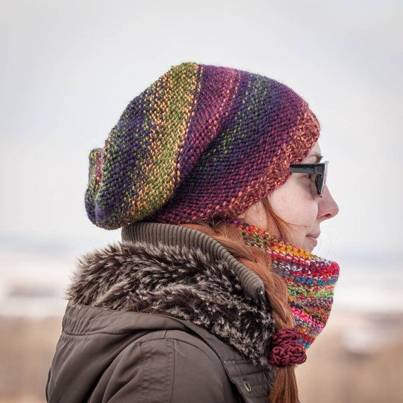 Multicolored Slouchy Beanie Hat / Color Changing by RUKAMIshop