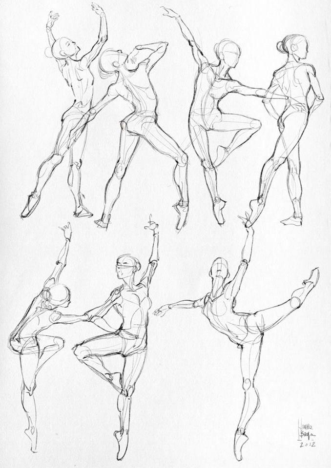 Bocetos de una bailarina en diferentes posiciones