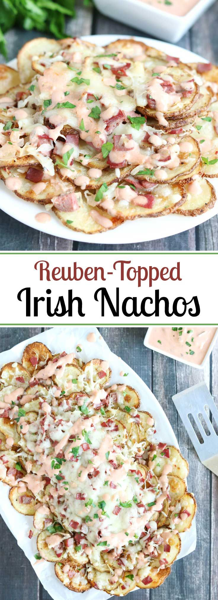 """Seasoned, oven-baked potato chips and classic reuben toppings! These Reuben-Topped Irish Nachos feature all the ever-popular flavors of a reuben sandwich, in an easy """"nacho"""" recipe! Easy to make, seriously delicious! A perfect St. Patrick's Day recipe, and also a great game day snack recipe ... or for snacks and appetizers ANY day! Bonus: this Irish Nacho recipe is so much healthier, too! You'll be surprised!   www.TwoHealthyKitchens.com"""