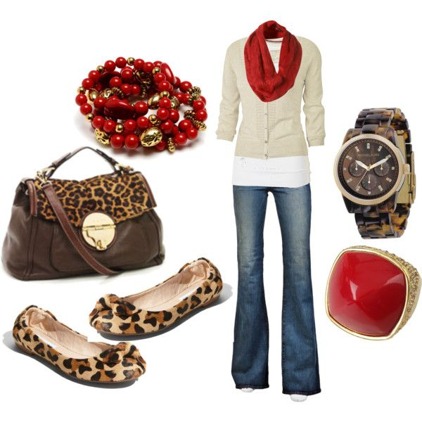 red and leopard :): Leopards Shoes, Style, Fall Outfit, Leopards Prints, Animal Prints, Red Leopard, Red Accent, Cheetahs Prints, Leopards Flats