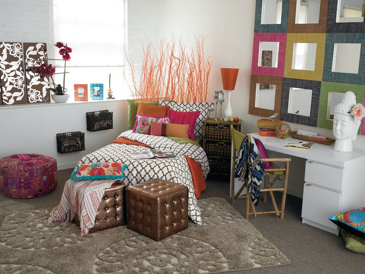 bedroom wide open college girls dorm room design in colorful scheme and decorations make yourself comfortable on college with these cool dorm design ideas - Glass Sheet Teen Room Decor