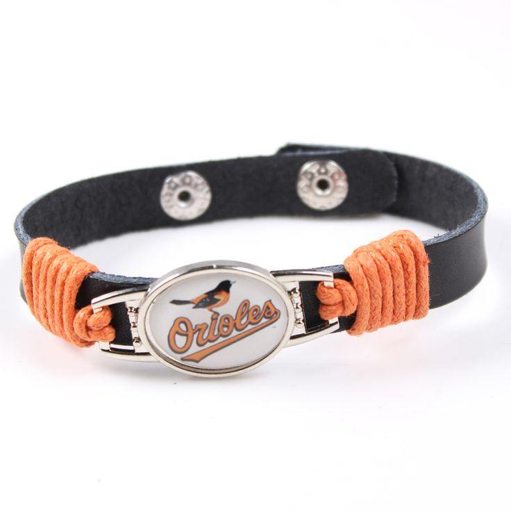 2017 Baltimore Orioles Leather Bracelet Adjustable Mens Black Leather Bracelet MLB Baseball Jewelry For Women Men