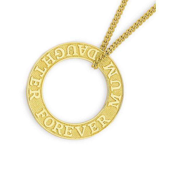 9ct Gold 'Mum Daughter Forever' Circle Pendant