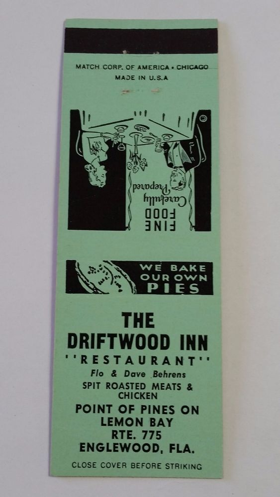 "THE DRIFTWOOD INN ""RESTAURANT"" ENGLEWOOD FLORIDA #Matchcover To order your Business' own branded #matchbooks or #matchboxes GoTo: www.Getmatches.com or CALL 800.605.7331 Today!"