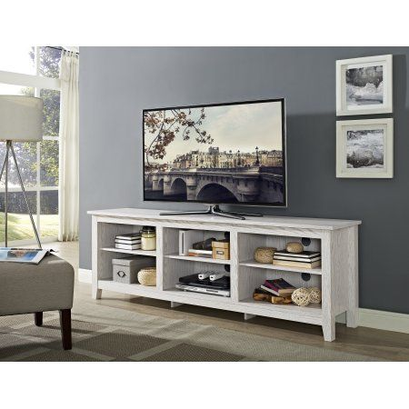 70 Inch Wood Media TV Stand Storage Console   White Wash