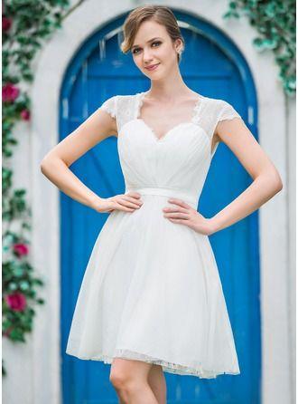 Forme Princesse Bustier en coeur Longueur genou Tulle Robe de mariée avec Plissé