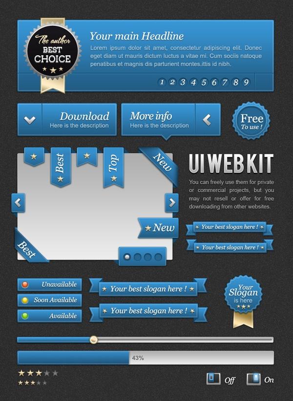 Free PSD UI Kits: Design Inspiration, Webdesign, Ui Design, Free Psd, Web Design, Ui Blue, Ui Ux, Ui Kit