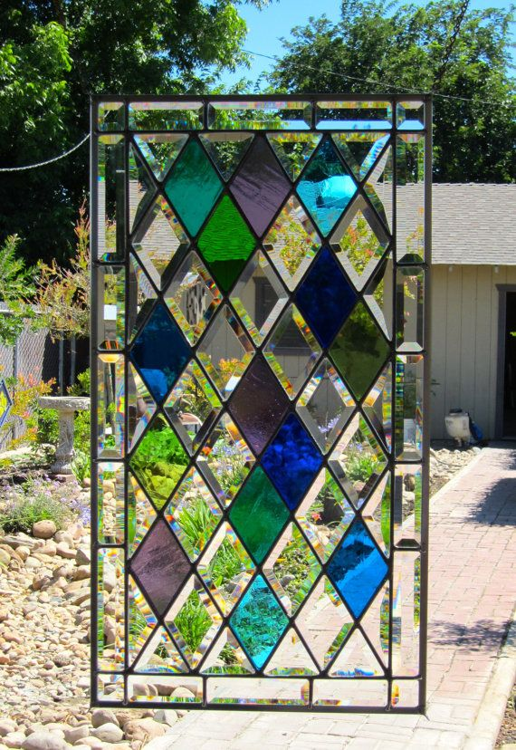 Large Diamonds Stained Glass Window by DebsGlassArt on Etsy