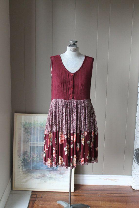 DIY with similar prints - 90s Ethnic Burgundy Dress / Grunge Dress/ Floral Rayon Dress / Papillon Dress
