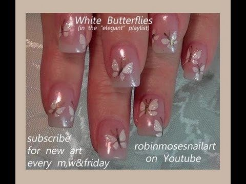 EASY white butterfly nails: robin moses.