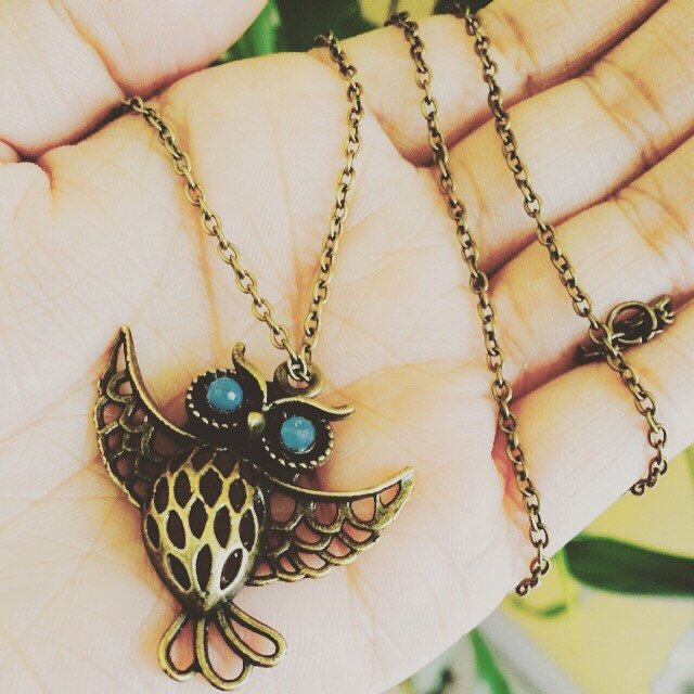 A personal favorite from my Etsy shop https://www.etsy.com/listing/253316012/owl-necklace-blue-eyed-owl-necklace