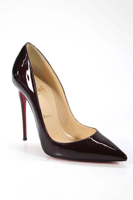86cc212ad1e Christian Louboutin Women s Pumps Size 37.5 7.5 Burgundy Patent Leather