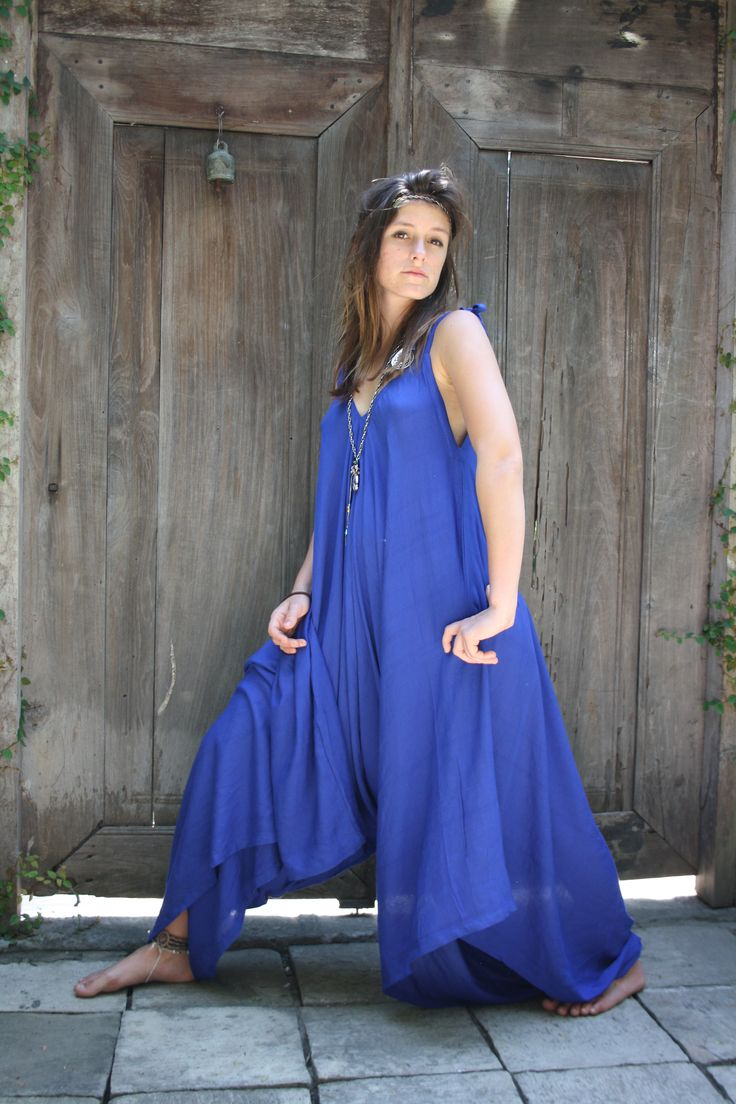 Striking look, Blue jumpsuit with long necklace, new, old , gorgeous look!!! All blue